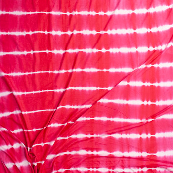 Red and White Banded Tie Dye Stretch Rayon Jersey Fabric By The Yard - Wide shot
