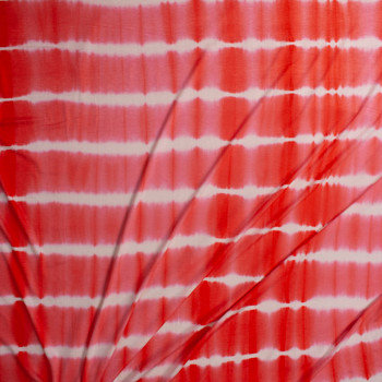 Coral and White Banded Tie Dye Stretch Rayon Jersey Fabric By The Yard - Wide shot