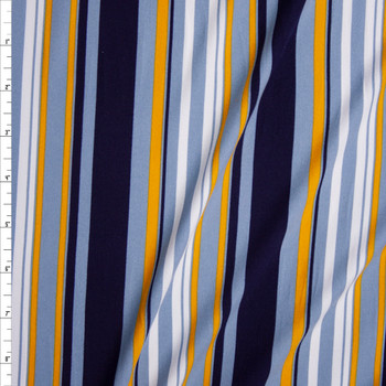 Blue, Yellow, and White Vertical Barcode Stripes Double Brushed Poly Fabric By The Yard