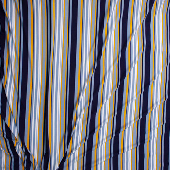 Blue, Yellow, and White Vertical Barcode Stripes Double Brushed Poly Fabric By The Yard - Wide shot