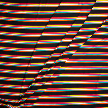 Bright Orange, Teal, White, Fuchsia, Lime, and Red Stripe on Black Double Brushed Poly Fabric By The Yard - Wide shot