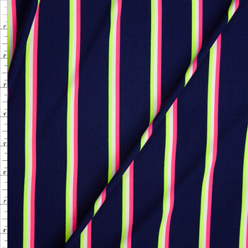 Neon Pink, Yellow, and White Stripes on Navy Double Brushed Poly Fabric By The Yard