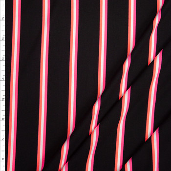 Neon Pink, White, and Orange Stripe on Black Double Brushed Poly Fabric By The Yard