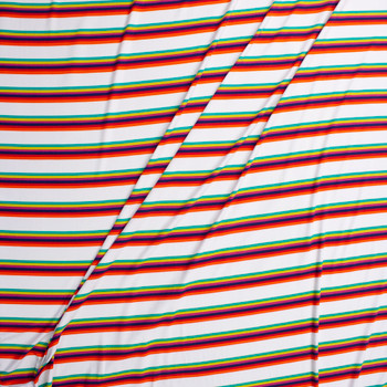 Orange, Red, Navy, Fuchsia, Lime, and Kelly Stripe on Offwhite Double Brushed Poly Fabric By The Yard - Wide shot