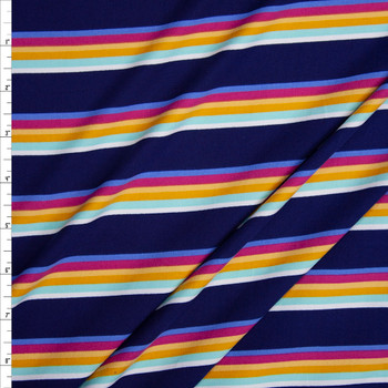White, Mint, Mustard, Yellow, Fuchsia, and Periwinkle Stripe on Navy Double Brushed Poly Fabric By The Yard
