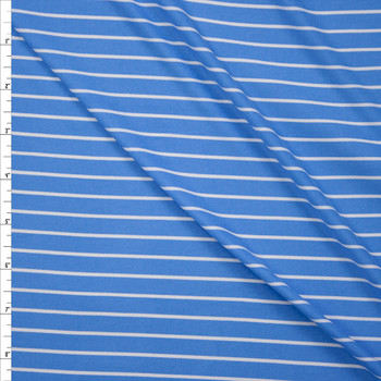 White on Light Blue Vertical Stripe Double Brushed Poly Fabric By The Yard
