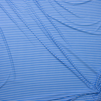 White on Light Blue Vertical Stripe Double Brushed Poly Fabric By The Yard - Wide shot