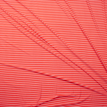 White on Bright Coral Vertical Stripe Double Brushed Poly Fabric By The Yard - Wide shot