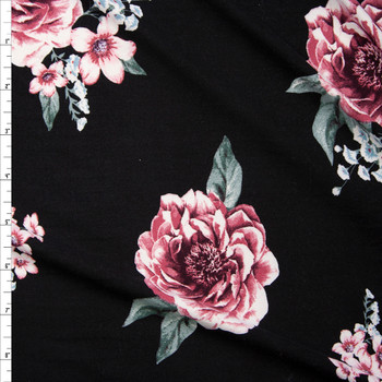 Pink and Sage Rose Floral on Black Double Brushed Poly Fabric By The Yard