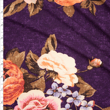 Peach and Tan Grunge Rose Floral on Plum Double Brushed Poly Fabric By The Yard