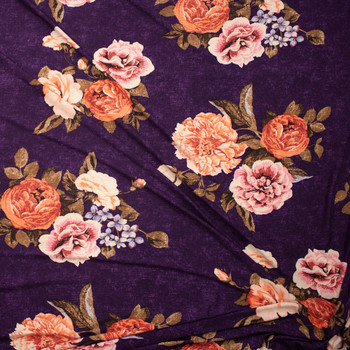 Peach and Tan Grunge Rose Floral on Plum Double Brushed Poly Fabric By The Yard - Wide shot