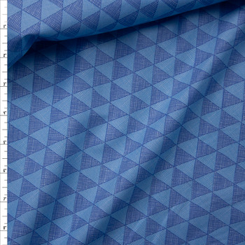Blue and Light Blue Triangle Fine Cotton Shirting from Tori Richards Fabric By The Yard
