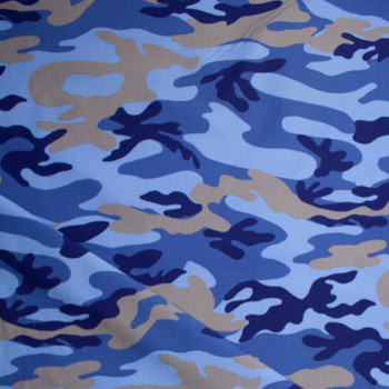 Blue and Tan Camouflage Cotton Ripstop Fabric By The Yard - Wide shot