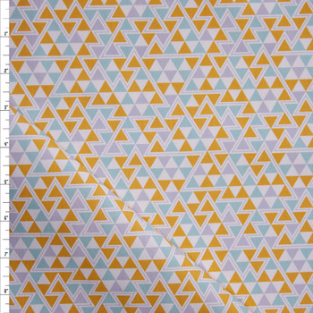 Mustard and Aqua Triangles Midweight Cotton Poplin Fabric By The Yard