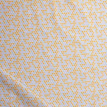 Mustard and Aqua Triangles Midweight Cotton Poplin Fabric By The Yard - Wide shot