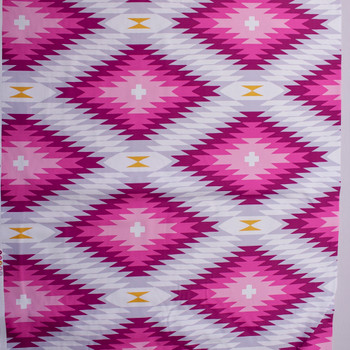 Hot Pink, Grey, and Mustard Jagged Diamonds Midweight Cotton Poplin Fabric By The Yard - Wide shot