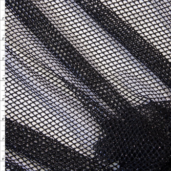 Metallic Silver on Black Fishnet Fabric By The Yard
