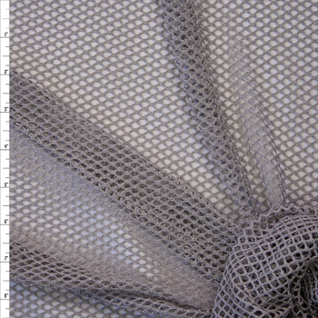 Metallic Silver on Grey Fishnet Fabric By The Yard