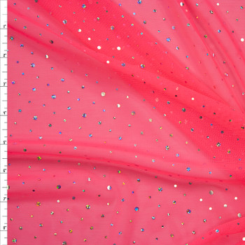Silver Holographic Sequin on Neon Pink Power Mesh Fabric By The Yard