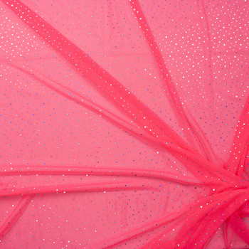 Silver Holographic Sequin on Neon Pink Power Mesh Fabric By The Yard - Wide shot