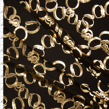Metallic Gold Chain on Black Stretch Poly/Spandex Knit Fabric By The Yard