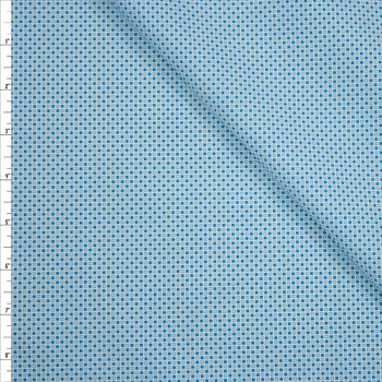 Tootal Super Classic High Count Poplin Blue Squares Fabric By The Yard