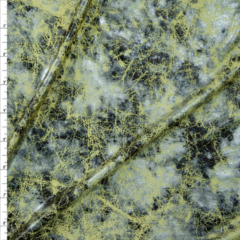Silver and Black Grunge on Light Yellow Metallic Spandex Knit Fabric By The Yard