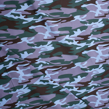 Forest, Light Blue, Dusty Lavender, and Brown Camouflage Midweight Cotton Canvas Fabric By The Yard - Wide shot
