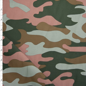 Dark Green, Brown, Taupe, and Mauve Camouflage Midweight Cotton Canvas Fabric By The Yard