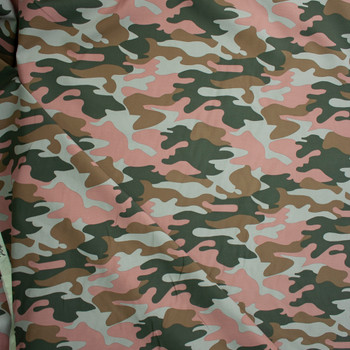 Dark Green, Brown, Taupe, and Mauve Camouflage Midweight Cotton Canvas Fabric By The Yard - Wide shot