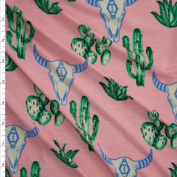 Cactus and Bull Skulls on Pink Lightweight Stretch Poly/Spandex Knit Fabric By The Yard