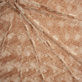 Gold Layered Swirls Embossed Stretch Velvet Fabric By The Yard - Wide shot