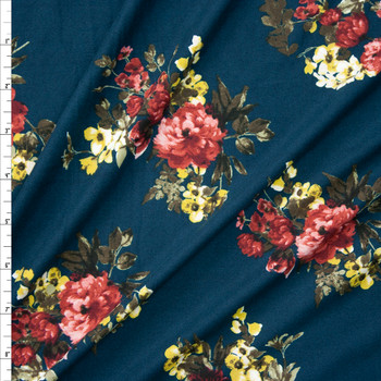 Wine and Yellow Floral on Teal Double Brushed Poly  Fabric By The Yard