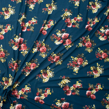 Wine and Yellow Floral on Teal Double Brushed Poly  Fabric By The Yard - Wide shot