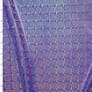 Iridescent Silver Swirls on Purple Nylon/Spandex Fabric By The Yard