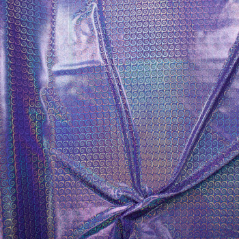 Iridescent Silver Swirls on Purple Nylon/Spandex Fabric By The Yard - Wide shot