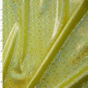 Iridescent Silver Waves on Bright Yellow Nylon/Spandex Fabric By The Yard