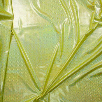 Iridescent Silver Waves on Bright Yellow Nylon/Spandex Fabric By The Yard - Wide shot