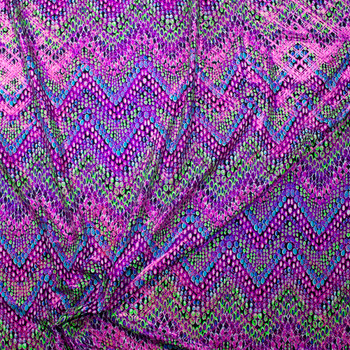 Pink, Purple, Neon Green, and Black Chevron with Holographic Pink Argyle Overlay Nylon/Spandex Fabric By The Yard - Wide shot