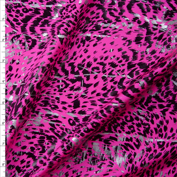 Black and Silver Gloss Cheetah on Neon Pink Nylon/Spandex Fabric By The Yard
