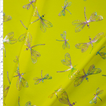 Iridescent Dragonflies on Bright Yellow Nylon/Spandex Fabric By The Yard
