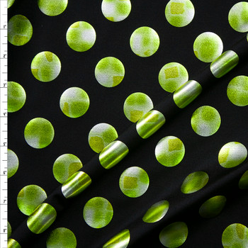 Lime and Silver Polka Dots on Black Nylon/Spandex Fabric By The Yard