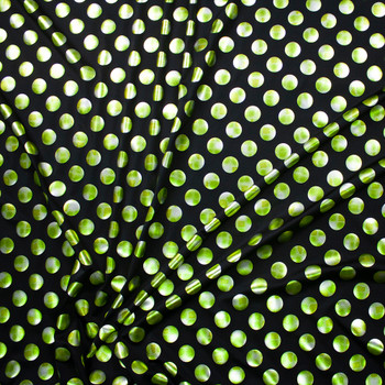 Lime and Silver Polka Dots on Black Nylon/Spandex Fabric By The Yard - Wide shot