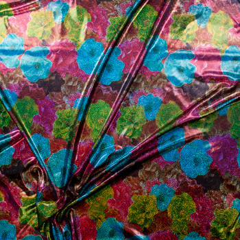Holographic Multi Colored Flowers on Black Nylon/Spandex Fabric By The Yard - Wide shot