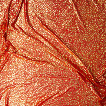 Gold Cheetah Metallic on Red Lightweight Nylon/Spandex Fabric By The Yard - Wide shot