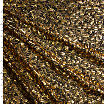 Gold Cheetah Metallic on Black Lightweight Nylon/Spandex Fabric By The Yard