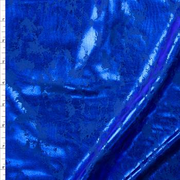Metallic Grunge Blue on Blue Nylon/Spandex Fabric By The Yard