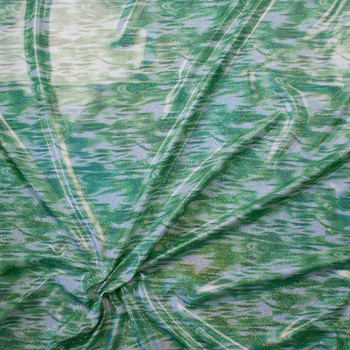 Holographic Silver Metallic on Lime and White Swirl Nylon/Spandex Fabric By The Yard - Wide shot