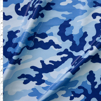 Blue Camouflage with Gloss Overlay Stretch Knit Fabric By The Yard
