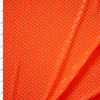 Clear Sequins on Neon Orange Stretch Knit Fabric By The Yard